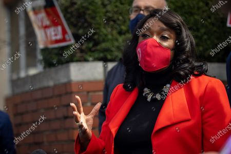 Congresswoman Terri Sewell (D-AL) speaks at a press conference in Birmingham, Alabama at a RWDSU office after a congressional delegation met with workers and organizers involved with unionization efforts at the Amazon BHM1 facility.