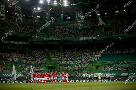 Stock Image of A minute's silence is observed in memory of late Maria Jose Valerio before the Portuguese League football match between Sporting CP and CD Santa Clara at Jose Alvalade stadium in Lisbon, Portugal on March 5, 2021.