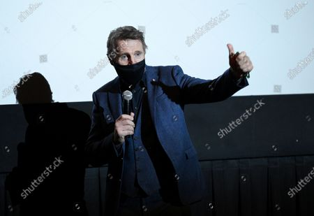"""Actor Liam Neeson introduces his new film """"The Marksman"""" at the AMC Lincoln Square on the first that theaters reopened after COVID-19 closures, in New York"""