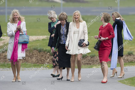 Tiggy Pettifer (left), Lady Sarah McCorquodale (third left) and Chelsy Davy (third right)
