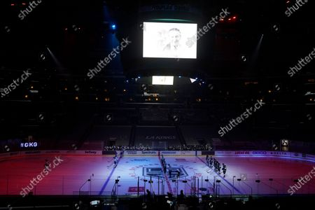 Stock Picture of The Los Angeles Kings and St. Louis Blues observe a moment of silence in honor of Walter Gretzky during an NHL hockey game, in Los Angeles