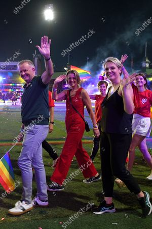 Federal Opposition Leader Anthony Albanese, Labor Senator Kristina Keneally and Federal Member for Sydney Tanya Plibersek take part in the 43rd annual Gay and Lesbian Mardi Gras parade at the SCG in Sydney, Australia, 06 March 2021.