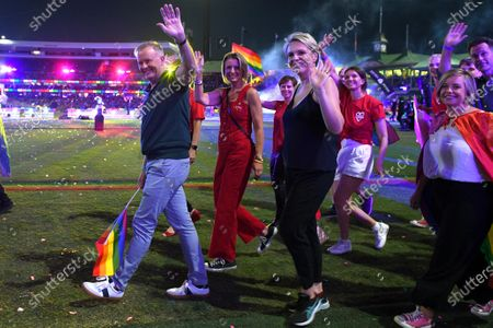 Stock Picture of Federal Opposition Leader Anthony Albanese, Labor Senator Kristina Keneally and Federal Member for Sydney Tanya Plibersek take part in the 43rd annual Gay and Lesbian Mardi Gras parade at the SCG in Sydney, Australia, 06 March 2021.