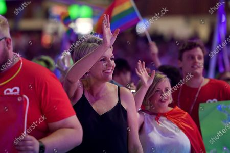 Federal Member for Sydney Tanya Plibersek takes part in the 43rd annual Gay and Lesbian Mardi Gras parade at the SCG in Sydney, Australia, 06 March 2021.