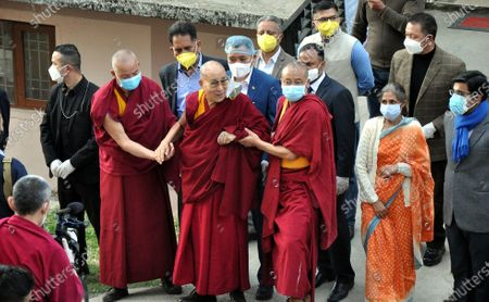 Tibetan spiritual leader the Dalai Lama (C) comes out from the hospital after receiving a COVID-19 vaccine in Dharmsala, India, 06 March 2021. Dalai Lama received the first shot of the coronavirus vaccine, said a medical officer.