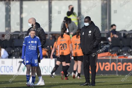 Emile Heskey of Leicester City Women after the FA WomenÕs Championship match between London Bees and Leicester City Women at The Hive Stadium in London - 7th March 2021