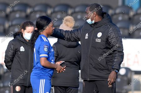 (L-R) Lachante Paul speaks with Emile Heskey of Leicester City Women after the FA WomenÕs Championship match between London Bees and Leicester City Women at The Hive Stadium in London - 7th March 2021