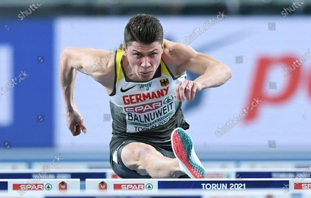 Stock Photo of Erik Balnuweit of Germany competes in the men's hurdles 60m heats at the 36th European Athletics Indoor Championships at the Arena Torun, in Torun, north-central Poland, 06 March 2021.