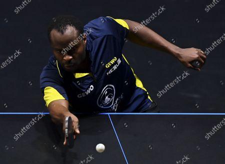 Quadri Aruna of Nigeria returns the ball during the men's singles quarterfinal against Lin Yun-Ju of Chinese Taipei at WTT Contender Doha in Doha, Qatar on March 5, 2021.