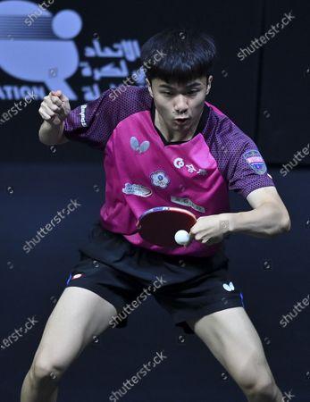 Lin Yun-Ju of Chinese Taipei returns the ball during the men's singles quarterfinal against Quadri Aruna of Nigeria at WTT Contender Doha in Doha, Qatar on March 5, 2021.