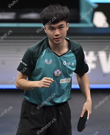 Lin Yun-Ju of Chinese Taipei reacts during the men's singles semifinal against Simon Gauzy of France at WTT Contender Doha in Doha, Qatar on March 5, 2021.