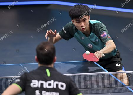 Lin Yun-Ju of Chinese Taipei returns the ball during the men's singles semifinal against Simon Gauzy of France at WTT Contender Doha in Doha, Qatar on March 5, 2021.