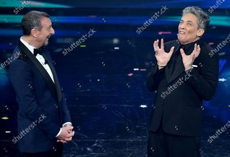 Sanremo Festival host and artistic director, Amadeus and Italian showman Rosario Fiorello on stage at the Ariston theatre during the 71st Sanremo Italian Song Festival, Sanremo, Italy, 06 March 2021. The festival runs from 02 to 06 March.