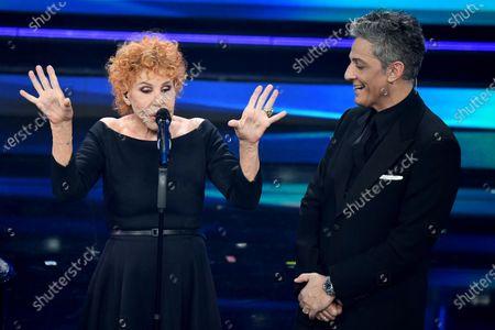 Ornella Vanoni and Italian showman Rosario Fiorello on stage at the Ariston theatre during the 71st Sanremo Italian Song Festival, Sanremo, Italy, 06 March 2021. The festival runs from 02 to 06 March.