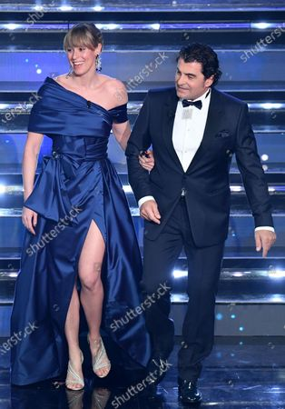 Former Italian ski racer Alberto Tomba and Olympic Italian swimmer Federica Pellegrini on stage at the Ariston theatre during the 71st Sanremo Italian Song Festival, Sanremo, Italy, 06 March 2021. The festival runs from 02 to 06 March.