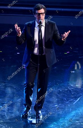 Stock Picture of Max Gazze' performs on stage at the Ariston theatre during the 71st Sanremo Italian Song Festival, Sanremo, Italy, 06 March 2021. The festival runs from 02 to 06 March.