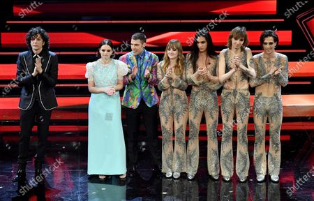 Stock Image of Ermal Meta, Francesca Michielin and Fedez and Italian band the Maneskin appear on stage at the Ariston theatre during the 71st Sanremo Italian Song Festival, Sanremo, Italy, 06 March 2021. The festival runs from 02 to 06 March.