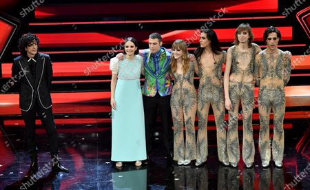 Ermal Meta, Francesca Michielin and Fedez and Italian band the Maneskin appear on stage at the Ariston theatre during the 71st Sanremo Italian Song Festival, Sanremo, Italy, 06 March 2021. The festival runs from 02 to 06 March.