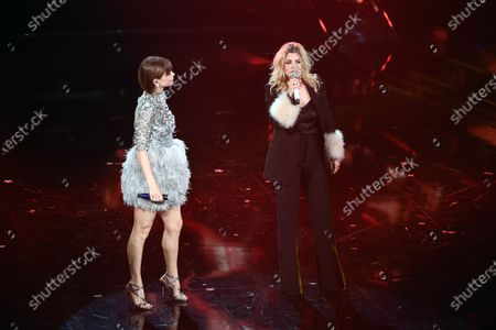 Italian singers Alessandra Amoroso and Emma Marrone at the Ariston theater during the 71st Sanremo Italian Song Festival, in Sanremo, Italy, 05 March 2021.