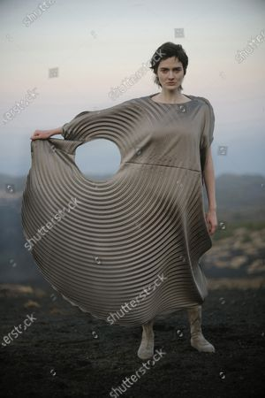 Stock Image of A model presents a creation by Issey Miyake during the Paris Fashion Week's Women Fall/Winter 2021-2022 ready-to-wear fashion digital show in Paris, France, on March 5, 2021.
