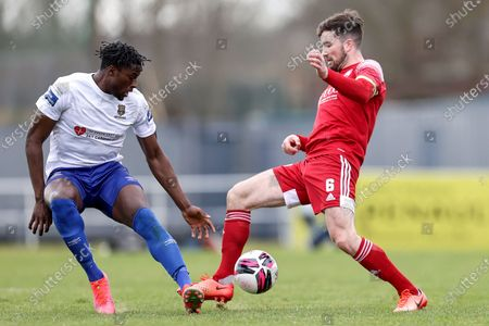 Waterford vs Cork City. Waterford's Tunmise Sobowale and Gearoid Morrissey of Cork City