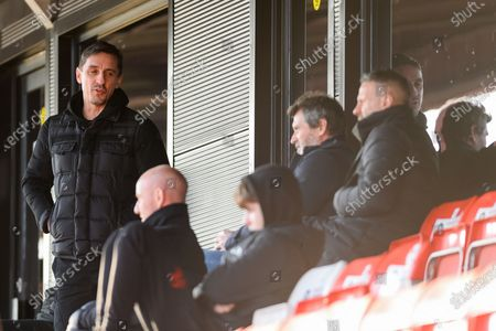 Gary Neville, half body portrait during the EFL Sky Bet League 2 match between Salford City and Scunthorpe United at the Peninsula Stadium, Salford