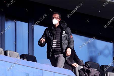 Fredi Bobic, Sporting Director of Eintracht Frankfurt is seen in the stands prior to the German Bundesliga soccer match between Eintracht Frankfurt and VfB Stuttgart at Deutsche Bank Park in Frankfurt am Main, Germany, 06 March 2021.