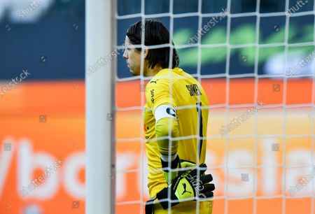 Moenchengladbach's goalkeeper Yann Sommer stands in his goal disappointed after losing the German Bundesliga soccer match between Borussia Moenchengladbach and Bayer Leverkusen in Moenchengladbach, Germany