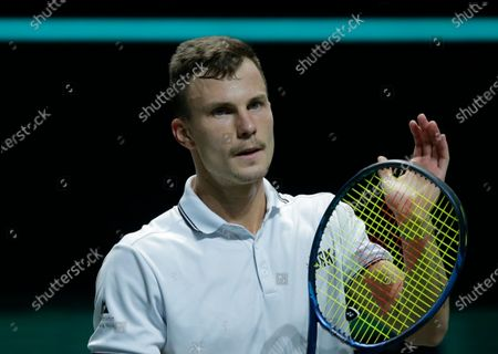 Hungary's Marton Fucsovics celebrates winning in two sets 6-4, 6-1, against Croatia's Borna Coric in their semifinal men's singles match of the ABN AMRO world tennis tournament at Ahoy Arena in Rotterdam, Netherlands