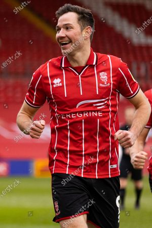 Lincoln City Forward Tom Hopper (9) during the EFL Sky Bet League 1 match between Lincoln City and Crewe Alexandra at Sincil Bank, Lincoln