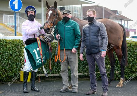 Santa Rossa with Robert Power, Noel Clarke and Dermot McLoughlin after winning The Racing Again March 13th Mares Maiden Hurdle