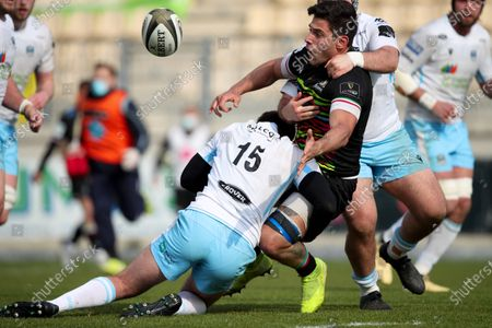 Oli Smith - Glasgow Warriors full back (15) puts a stop to a Zebre attack.