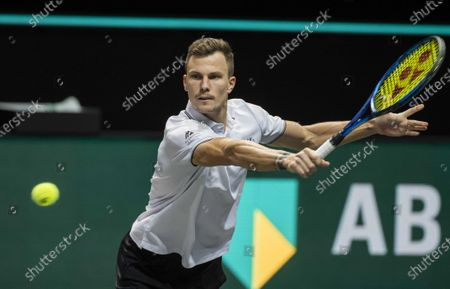 Stock Image of Marton Fucsovics Hungary during the semi-final against Borna Coric of Croatia on the sixth day of the ABN AMRO World Tennis Tournament in Rotterdam, Netherlands, 06 March 2021.