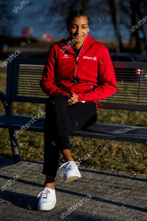 Belgian Nafissatou Nafi Thiam pictured during a photoshoot after Yesterday's women pentathlon event at the European Athletics Indoor Championships, in Torun, Poland, Saturday 06 March 2021. Belgians Thiam and Vidts won the gold and silver medal.