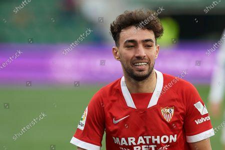 Munir El Haddadi of Sevilla during the La Liga Santander match between Elche CF and Sevilla FC at Estadio Martinez Valero on March 6, 2021 in Elche, Spain.
