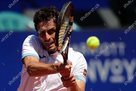 Spanish Albert Ramos Vinolas in action against Argentine's Francisco Cerundolo, during an ATP250 semifinal tennis match in Buenos Aires, Argentina, 06 March 2021.