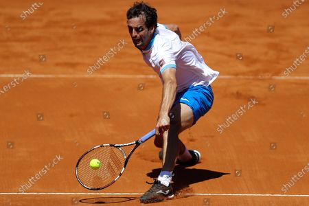 Stock Photo of Spanish's Albert Ramos Vinolas in action against Argentine's Francisco Cerundolo, during an ATP250 semifinal tennis match in Buenos Aires, Argentina, 06 March 2021.