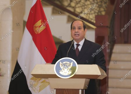 Stock Picture of Egyptian President Abdel Fattah al-Sisi holds a news conference with the Chairman of the Sovereignty Council of Sudan Gen. Abdel Fattah Abdelrahman al-Burhan at the Presidential Palace in Khartoum, Sudan, . Egypt's presidency says President Abdel Fattah el-Sissi trip was to address an array of issues, including economic and military ties and the two nations' dispute with Ethiopia over a massive dam Addis Ababa is building on the Blue Nile. The visit comes amid a rapprochement between the two governments