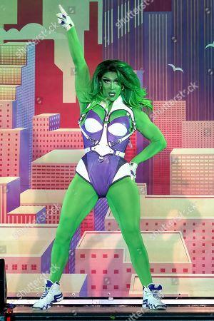 Drag Queen Kameron Michaels (She-Hulk) performs