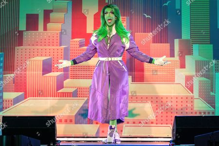 Stock Photo of Drag Queen Kameron Michaels (She-Hulk) performs