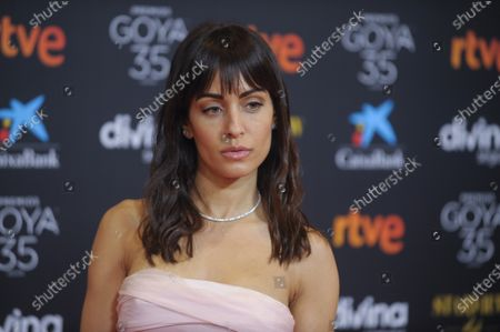 Actress Hiba Abouk poses for photographers upon arrival at the red carpet ahead of the 35th Goya Awards Gala, in Malaga, Spain