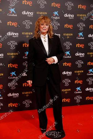 Emma Suarez poses for the photographers on the red carpet during the 35th Goya Awards Ceremony at Soho CaixaBank Theater in Malaga, Andalusia, Spain, 06 March 2021.