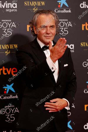 Jose Coronado poses for the photographers on the red carpet during the 35th Goya Awards Ceremony at Soho CaixaBank Theater in Malaga, Andalusia, Spain, 06 March 2021.