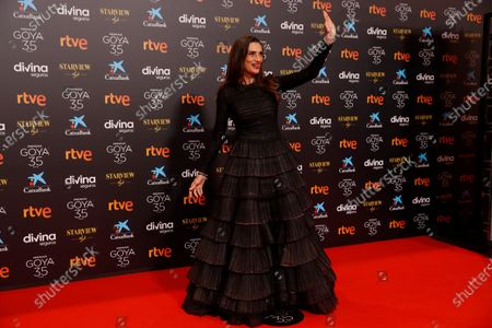 Angela Molina poses for the photographers on the red carpet during the 35th Goya Awards Ceremony at Soho CaixaBank Theater in Malaga, Andalusia, Spain, 06 March 2021.