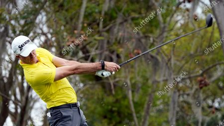 Martin Laird, of Scotland, hits off a tee during the third round of the Arnold Palmer Invitational golf tournament, in Orlando, Fla