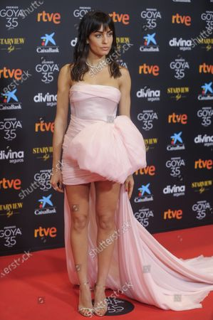 Actress Hiba Abouk poses for photographers upon arrival at the red carpet ahead 35th Goya Awards Gala, in Malaga, Spain