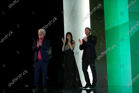 A handout picture provided by Premios Goya shows  Spanish film director Pedro Almodóvar, Spanish actress Penelope Cruz and Spanish actor Antonio Banderas during the 35th Goya Awards Ceremony gala at Soho CaixaBank Theater in Malaga, Andalusia, Spain, 06 March 2021.