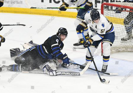 Stock Photo of Fargo Force Jeremy Davidson (8) ends up on top of Sioux Falls Stampede goalie Trent Burnham (35) as he battles Sioux Falls Stampede Garrett Sundquist (55) for a loose puck during a USHL game between the Sioux Falls Stampede and the Fargo Force at Scheels Arena in Fargo, ND. Fargo defeated Sioux Falls 4-1