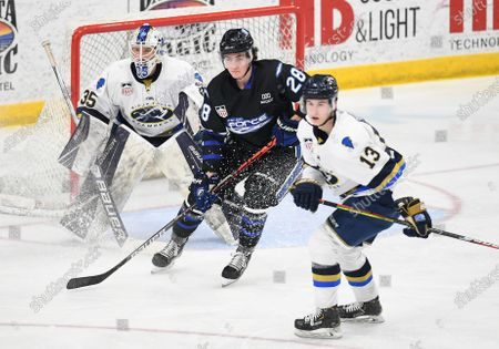 Stock Image of Sioux Falls Stampede goalie Trent Burnham (35) along with Fargo Force Bear Hughes (28) and Sioux Falls Stampede Garrett Pinoniemi (13) wait for an incoming puck during a USHL game between the Sioux Falls Stampede and the Fargo Force at Scheels Arena in Fargo, ND
