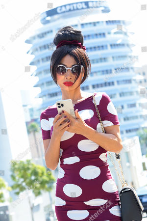 Bai Ling out and about in a polkadot dress